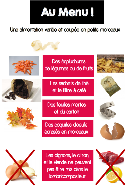 menu des lombric
